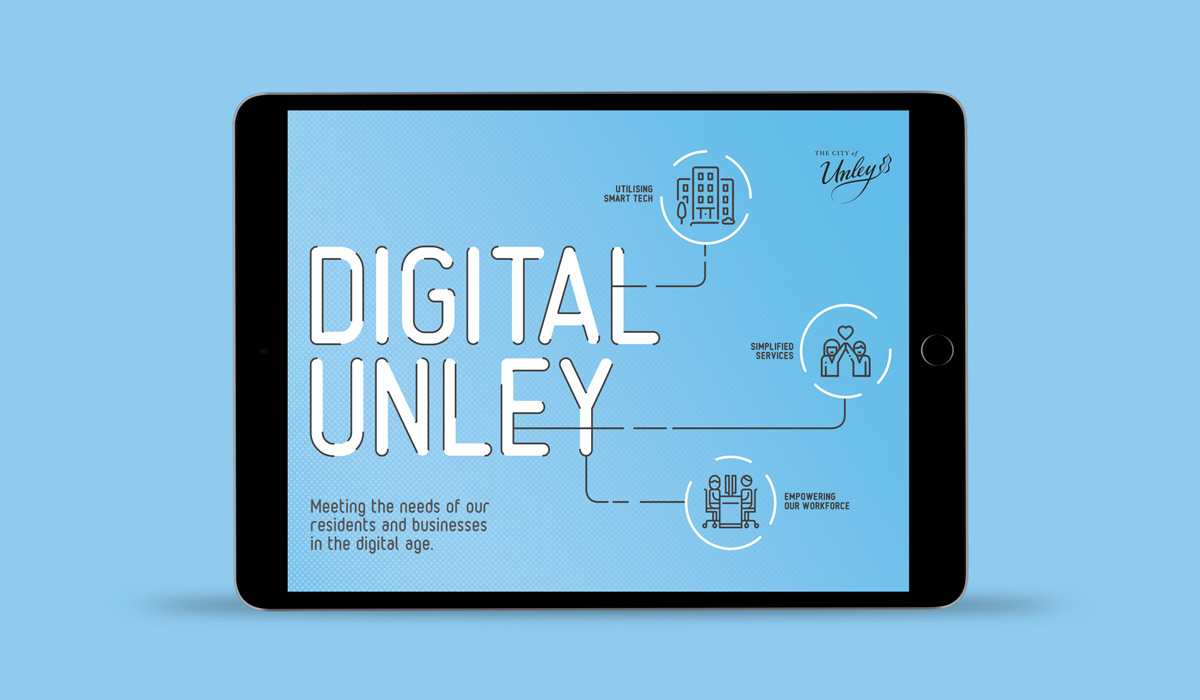 Digital Unley Illustrations landing page displayed on Tablet