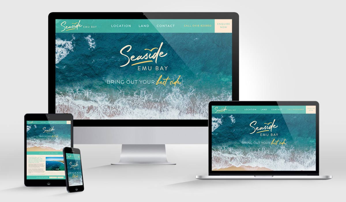 Seaside KI website displayed on desktop, tablet, smart phone and laptop