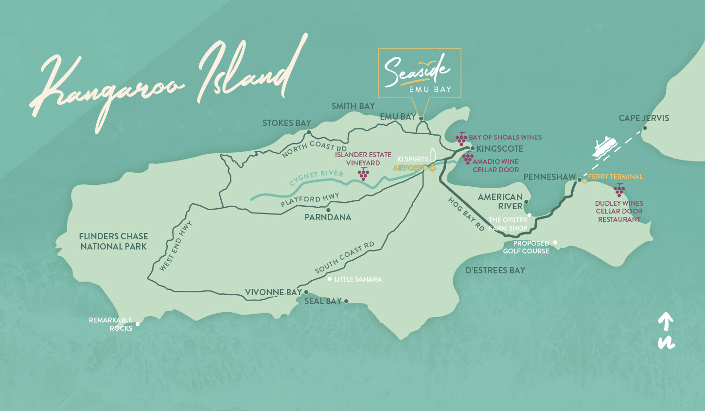 Seaside location map of Kangaroo Island designed by Algo Mas