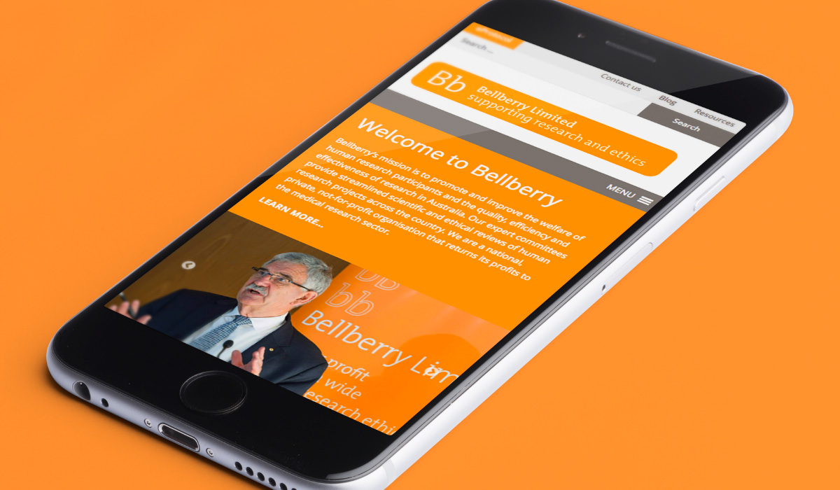 Bellberry website design on smart phone