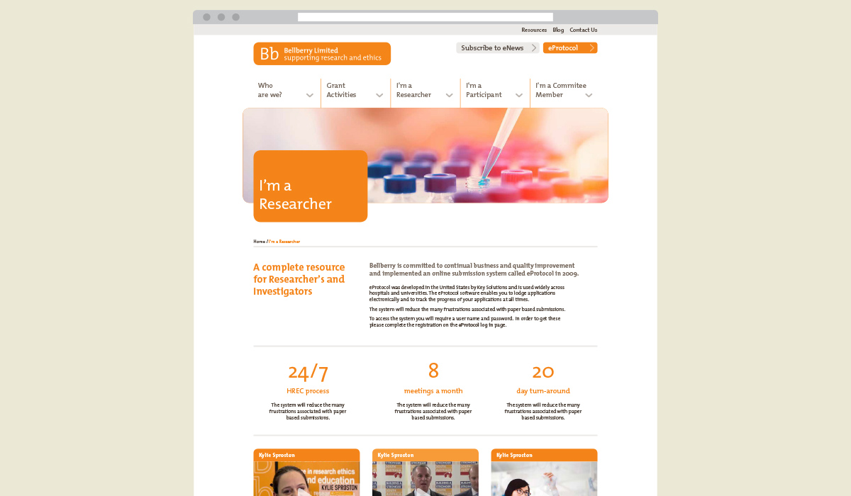 Bellberry website design by Algo Mas, researcher page