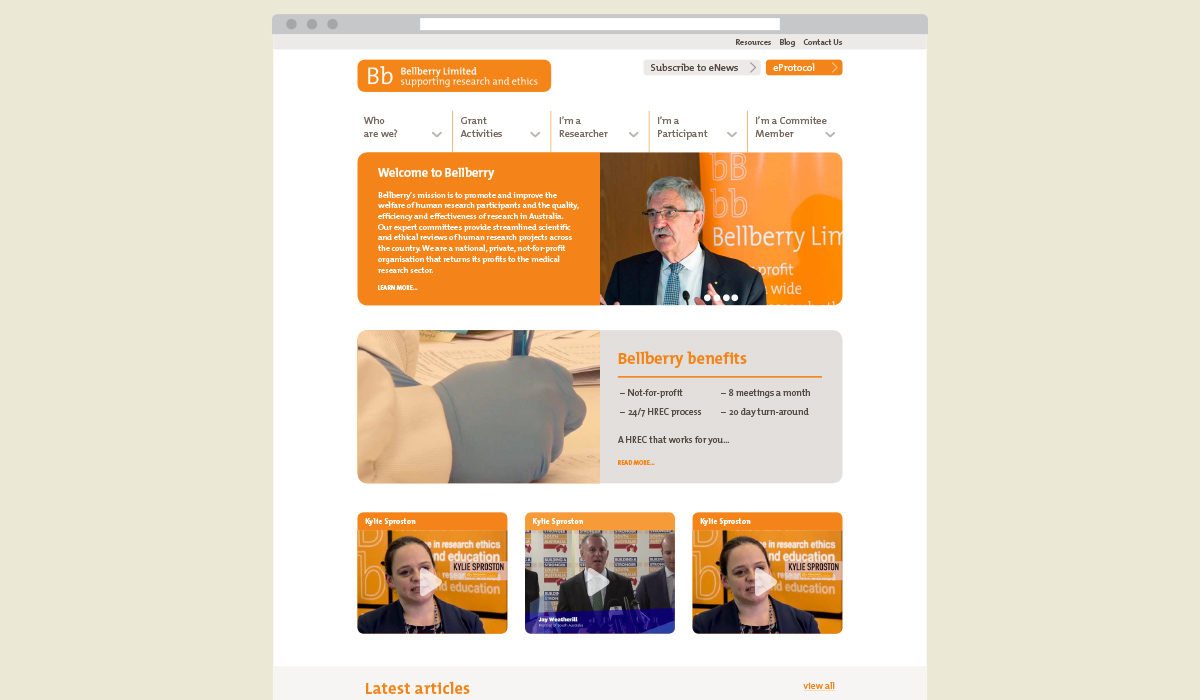 bellberry website design by Algo Mas