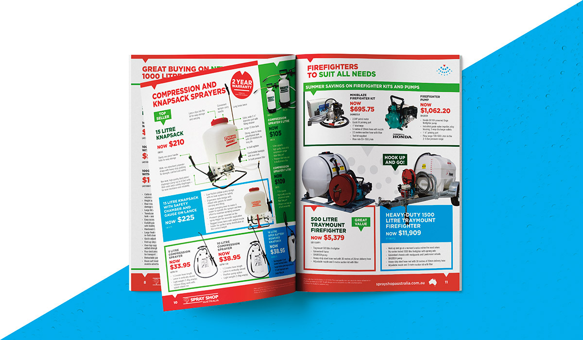 internal pages of Sprayshop summer essentials magazine created by Algo Mas