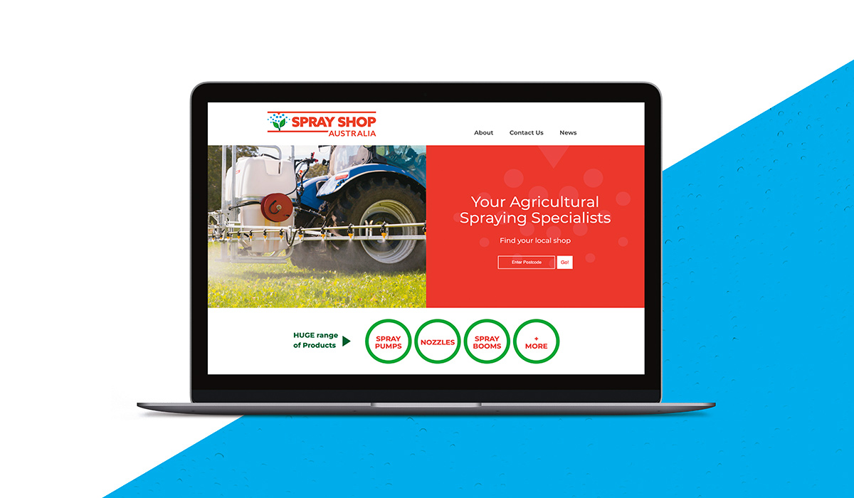 Home Page of Sprayshop website created by Algo Mas displayed in laptop