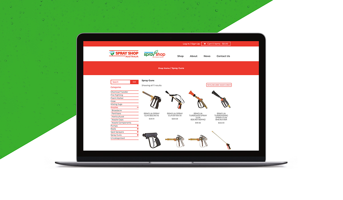 Shop category page of Sprayshop website created by Algo Mas displayed in laptop