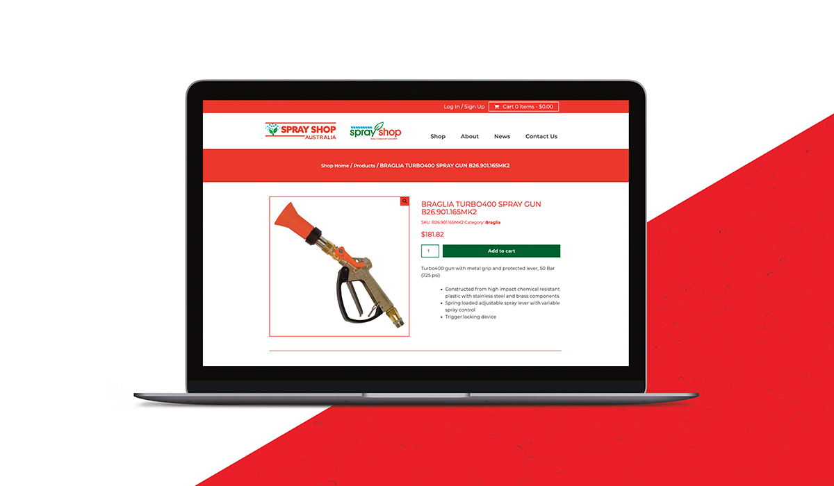 product page of Sprayshop website created by Algo Mas displayed in laptop